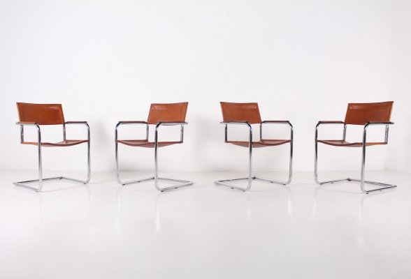 Set of 4 cognac bauhaus style chairs by Matteo Grassi, 1970's