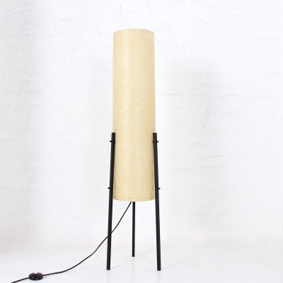 Fiberglass & steel tripod floor lamp by Dame & Co, 1950's