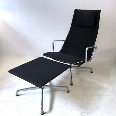 Black hopsak EA124 Lounge chair with EA125 Hocker by Charles & Ray Eames for Herman Miller