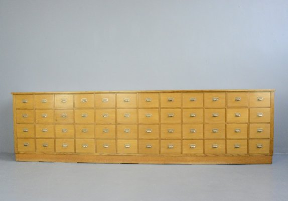 Oak Mid Century German Apothecary Drawers, Circa 1950s