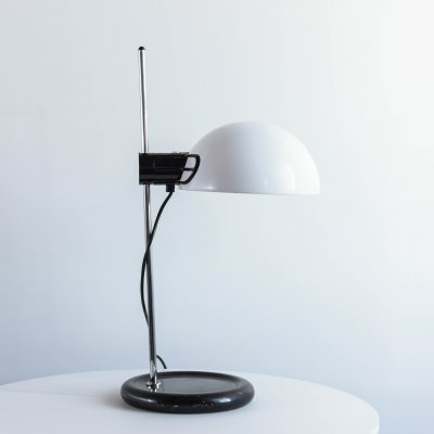 Guzzini desk lamp in metal & white plastic, 1970's