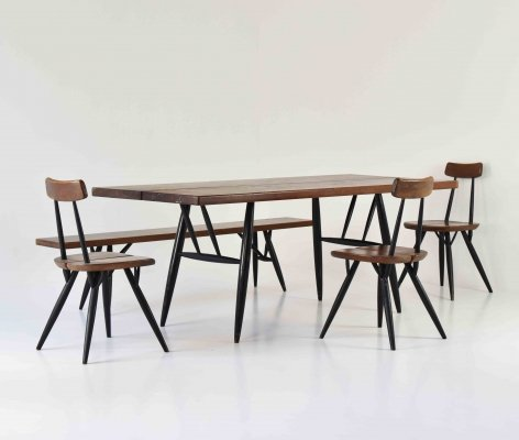 Pirkka dining set by Ilmari Tapiovaara for Laukaan Puu, Finland 1955