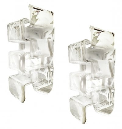 Pair of 70s Murano Glass Sconces From Mazzega, Italy