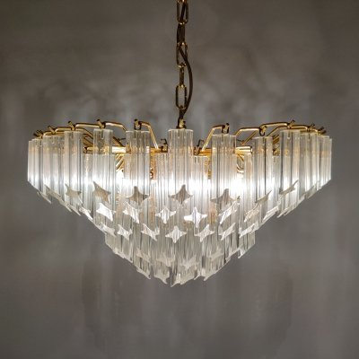 Vintage brass & crystal chandelier by Novaresi, 1980s