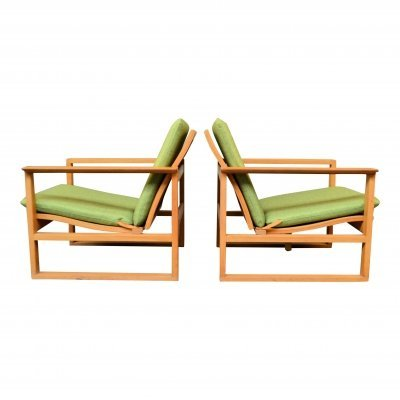 Pair of Vintage Danish design Børge Mogensen oak BM2256 lounge chairs, 1950s