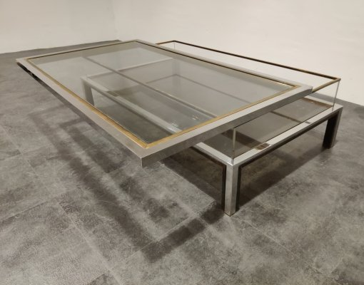 Vintage brass & chrome sliding top coffee table by Belgo Chrom, 1970s