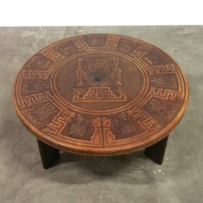 Vintage peruvian leather & wood coffee table, 1970s