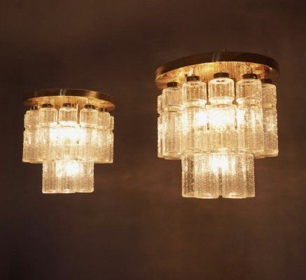 Flush Mount Chandeliers by Glashütte Limburg, Germany 1970s