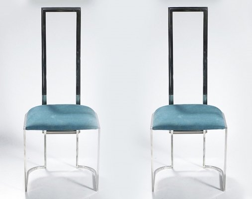Pair of Mid-century Italian lucite green chairs, 1970s