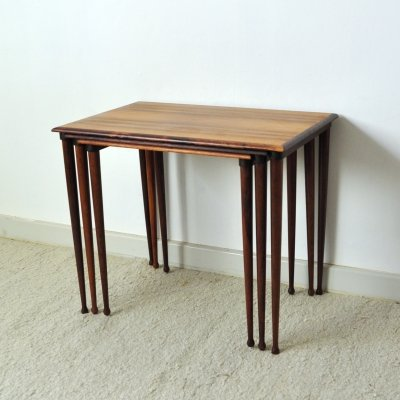 Danish Modern nesting tables with drumstick legs in rosewood by BC Møbler