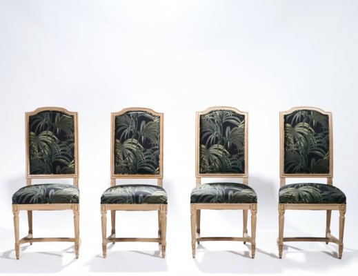 Set of 4 French Louis XV style chairs, 1950s