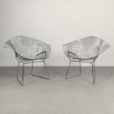 1st Edition Chromed Diamond Chairs by Harry Bertoia for Knoll, 1950s