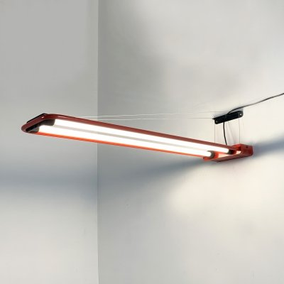 Red Large Fluorescent Hanging Light by Gian N. Gigante for Zerbetto, 1980s