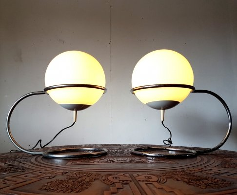 Space age desk lamps with an opaline globe in a chromed steel frame, 1960s