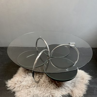 Space Age coffee table with glass top & three circular glass shelves, 1970's