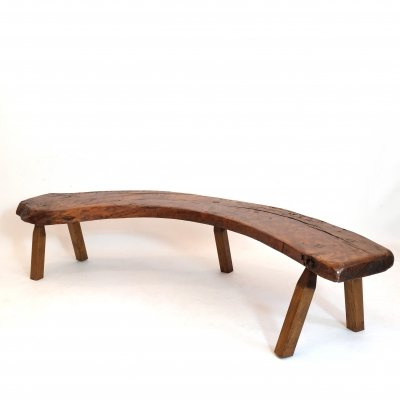 Brutalist bench in solid wood, 1970s