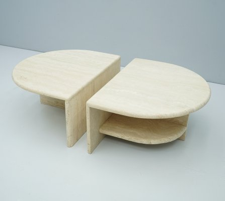 Pair of Twin Travertine Coffee Tables, Italy 1970s