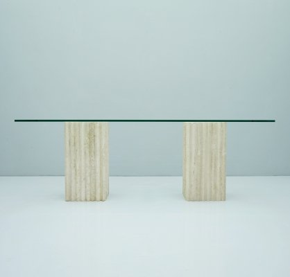 Dining Table by Carlo Scarpa in Glass & Travertine, 1970s