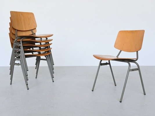 Kho Liang Ie model 305 birch stacking chairs Car Katwijk, The Netherlands 1957