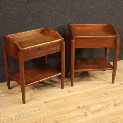 Pair of 20th Century Wood Italian Design Bedside Tables, 1960