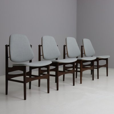 Set of 4 dining chairs by Arne Hovmand Olsen for Onsild Møbelfabrik, 1950s