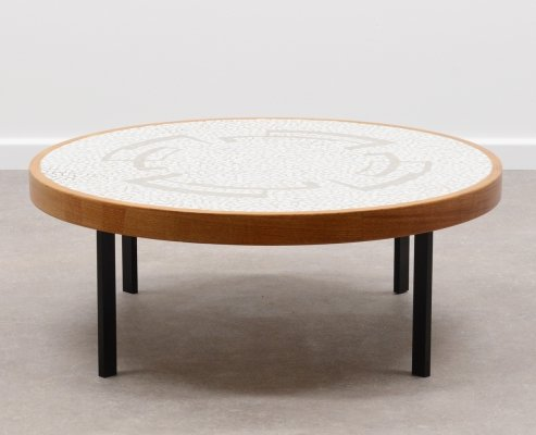Round mosaic coffee table by Berthold Müller, 60s