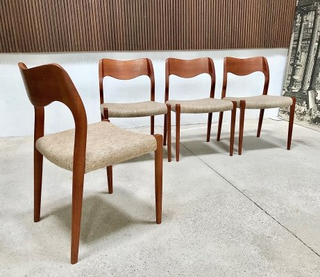 Set of 4 Danish Teak Dining Chairs No 71 by Niels O Møller for JL Møllers, 1960s