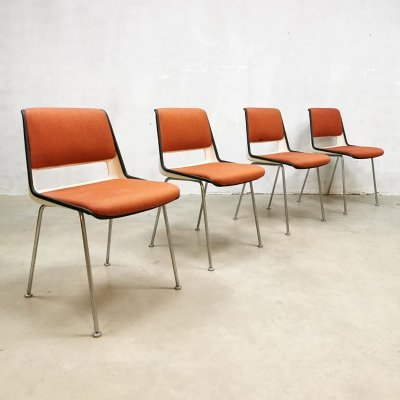Set of 4 model 2210 dining chairs by André Cordemeyer for Gispen, 1960s