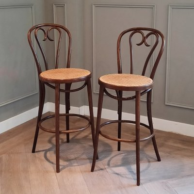 Set of 2 Bentwood & Rattan Bar Stools from ZPM Radomsko, 1960s