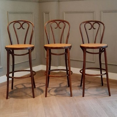 Set of 3 Bentwood & Rattan Bar Stools from ZPM Radomsko, 1960s