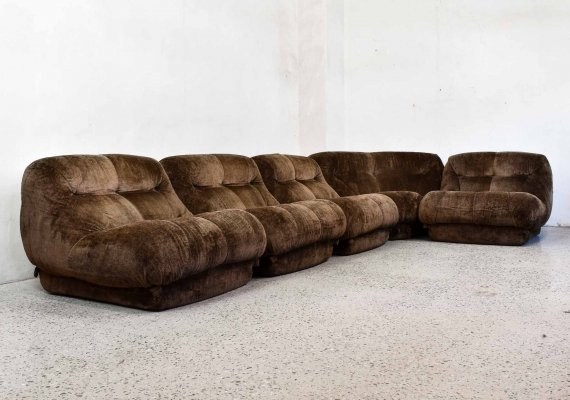 Brown Velvet Nuvolone Sofa set by Rino Maturi