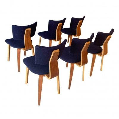 Set of 6 plywood Cor Alons dining chairs, Dutch design 1960s