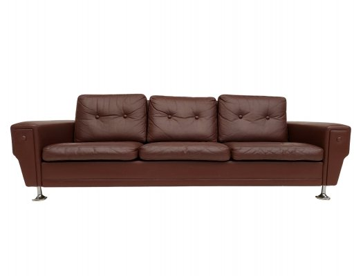 Danish 3-seater sofa in original brown leather, 1970s