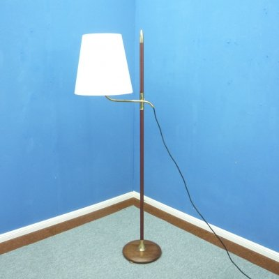 Brass & Teak Floor Lamp by Florian Schulz, 1950s