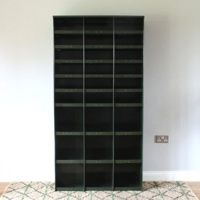 Industrial Tall Green Metal 'Pigeon Hole' Shelf Unit, 1970s