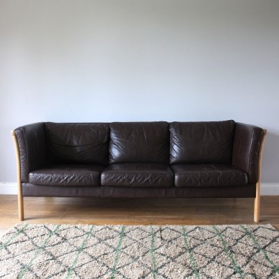 Original Vintage Danish Stouby Brown Leather Three Seater Sofa, 1970s
