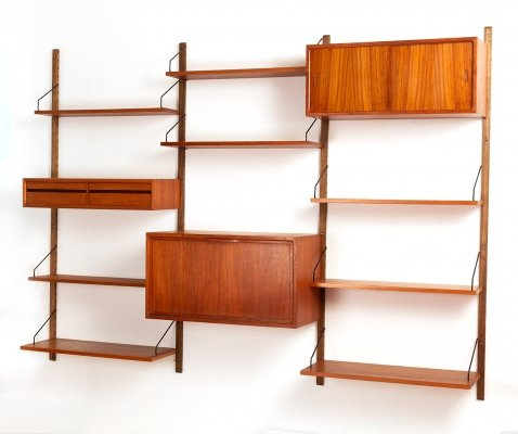 Vintage Danish three bay wall unit by Poul Cadovius for Cado, 1960's