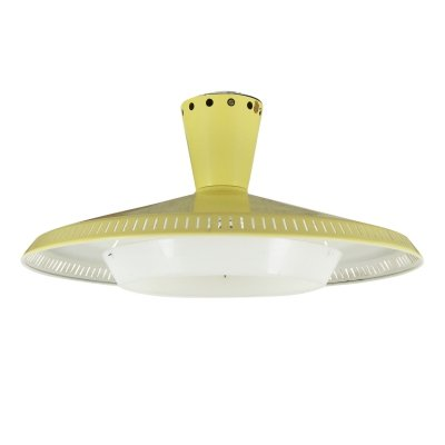 Yellow NB93 ceiling light by Louis Kalff for Philips, 1950s