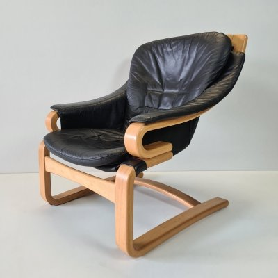Leather 'Apollo' lounge chair by Svend Skipper for Skippers Møbler, 1970s