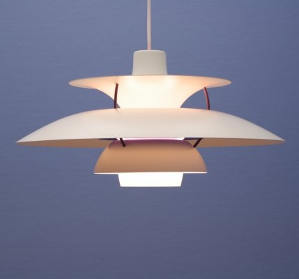 Danish hanging lamp PH5 in white by Poul Henningsen for Louis Poulsen, 1970s