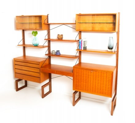 Vintage free-standing teak wall unit by Poul Cadovius for Cado Denmark, 1950's