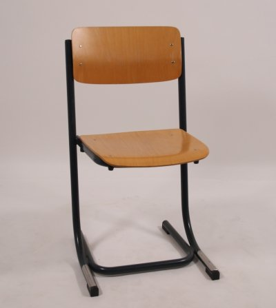 Stackable School chair in wood with blue frame, 1970s