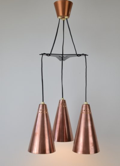 Early Hans-Agne Jakobsson Copper 'Beehive' pendant light, 1950's