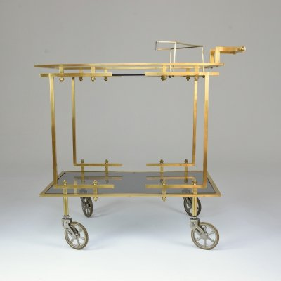 French Brass Bar or Serving Cart Trolley, 1970's