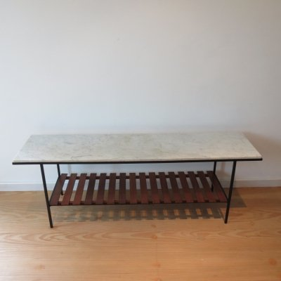 1950s Metal Side Table by Peter Cuddon with Marble Top And Slatted Shelf