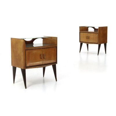 Pair of bedside tables with glass shelf, 1950s
