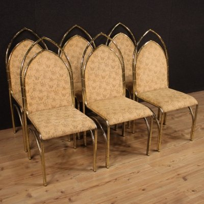 Set of 6 20th Century Golden Metal Italian Design Chairs, 1970