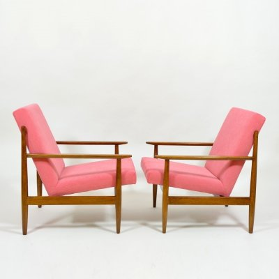 Pair of TON armchairs in pink, 1970s
