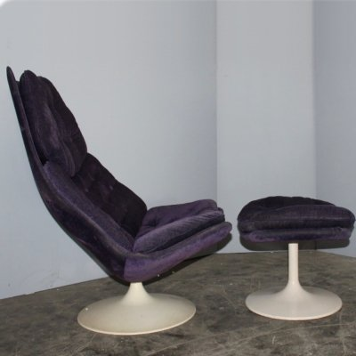 Purple F585 High Chair plus ottoman by Geoffrey D. Harcourt for Artifort, 1960s