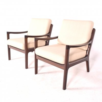 Midcentury Mahogany Ole Wanscher Easy Chairs, 1960s
